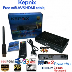 Kepnix satellite receiver with ratlink 5370 wifi av  powervu decoder 2 usb port vs freesat v7 max biss 3g
