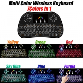 7 Color i86 Backlight MINI USB Wireless Keyboard Smart Home 2.4GHZ Aire Mouse Remote Controller