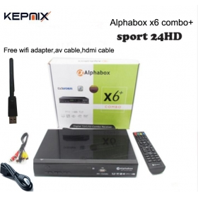 Alphabox X6+ Combo with free wifi adapter hdmi powervu autoroll DVB-T2/C/S2 Combo receiver sport 24HD football match
