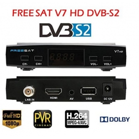 Freesat V7+1pc wifi adapter hd satellite receiver DVB-S2 HD full powervu support c*am youpron set top box